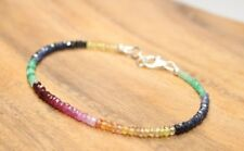 100% Natural Sapphire,Ruby,Emerald Faceted Gemstone Beads Bracelet Silver Clasp.