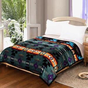 Southwestern Navajo Print Silk Touch Reversible Queen Size Blanket Green- Black