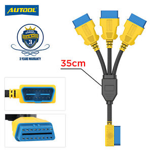 OBD2 II Splitter 1 to 3 Cord Converter Extension Cable Adapter 16 pin Anti-Tear