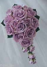 SILK WEDDING BOUQUETS LILAC CREAM ROSES TEARDROP BOUQUET ARTIFICIAL FLOWERS