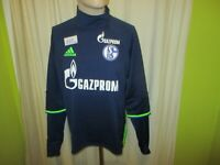 """FC Schalke 04 Adidas Spieler Rolli Sweatshirt/Pullover 2016/17 """"Gazprom"""" Gr.M"""