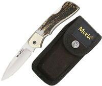 """Muela Lockback Folding Knife 3.25"""" Stainless Steel Blade Stag Handle MUE90760"""