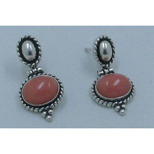 QVC .925 Sterling Silver Natural Pink Italian Coral Dangle Post Earrings