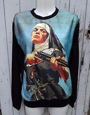 Vintage B película Nun y pistola Suéter-Talla 10 12 14 16-Puente Top Manga Larga