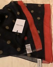 Paul Smith Wool Silk Blue Scarf, Dots & Orange Border, Unisex, RRP £135 - BNWT