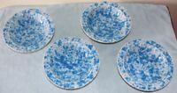 4 Vintage Pottery Blue & White Spongeware Stoneware Soup Salad Bowls 7 inch