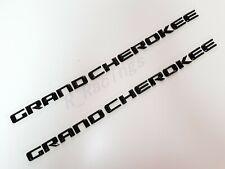 2PCS NEW Set Gloss Black GRAND CHEROKEE 3D Letters Emblems Nameplate Jeep Badge