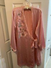 Susan Bristol Large Pink Silk Robe W/floral Detail