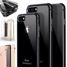 For iPhone 8 7 6 Plus Shockproof Thin Clear Back Metallic Bumper Hard Case Cover