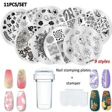11Pcs Set Flowers Geometry Nail Art Stamping Plates & Stamper & Scraper Tools US