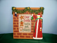 LIZZIE KATE COMPLETED CROSS STITCH PICTURE DEAR SANTA WE'VE GOT COOKIES!