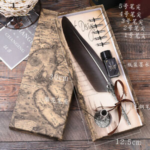 Antique Quill Feather Dip Pen Ink Writing Set Stationery Fountain Gift Box