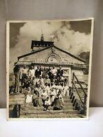 "Vintage Kedarnath Temple Group Photograph On Temple Stairs Black & White Rare ""2"