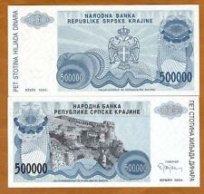 Croatia, Knin 500000 (500,000) Dinara, 1994, Pick R32, No Serial Numbers, UNC