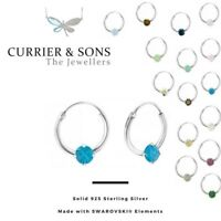 LA CRYSTALE 925 Sterling Silver Hoop Sleeper Earrings with SWAROVSKI® Elements