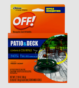 OFF! MOSQUITO COIL IV REFILLS Insect Bug Repellent Lasts upto Four Hours 6 Total