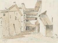 T.SENDTNER, Hofansicht in Rattenberg am Inn, 1881, Aquar. Bleistiftzeichnung