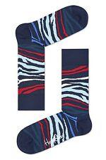 Happy Socks Blue & Red Block Zebra Print Socks UK Size 7 - 11 Unisex Mens Sock
