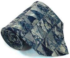 "Ungaro Paris Mens Necktie 100% Silk 3 3/4"" 56"" Italy Geometric Triangles Gray"