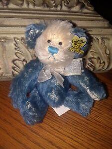 Vintage Annette Funicello Bear Co Collectible Blue & White Mohair Teddy Bear