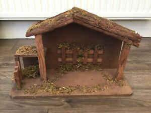 Large Wooden Nativity Manger Scene Set Christmas Rustic Perfect For Willow Tree
