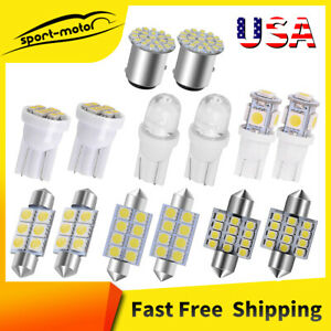 14x White LED Interior Package T10 42mm 5SMD Map Dome License 1157 Light Bulb