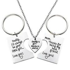 3pcs Daddys Girl Mommys World Necklace Key Chain Dad Mom Father Mother Daughter