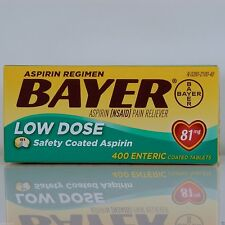 Bayer Low Dose Aspirin Regimen 400 Tablets 81 mg enteric coated, Exp 08/2018
