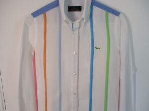 """Youth 2XL Multi-Colored Striped HARMONT & BLAINE """"Green Dachshund"""" Cotton Shirt"""