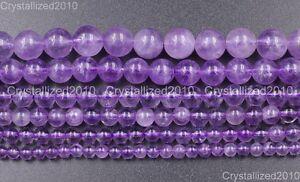 "Natural Lavender Amethyst Gemstone Round Loose Beads 4mm 6mm 7mm 8mm 10mm 15.5"""