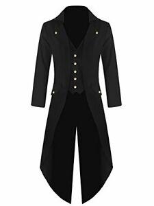 Ivay Mens Gothic Tailcoat Jacket Vintage Black Steampunk VTG Victorian  XX-Large