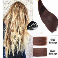 """EXTRA THICK 1G Double Drawn 16""""-24"""" Micro Ring  Easy Loop Human Hair Extensions"""