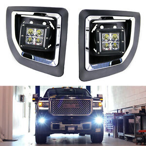 40W CREE LED Pods w/Foglight Cover, Bracket Mounts Relay For 15-19 GMC 2500 3500
