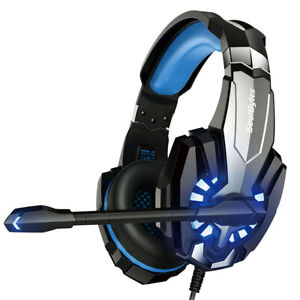 Gaming Headset Noise Cancelling Over-Head Earphone with RGB Light Microphone