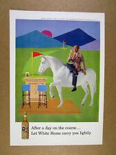 1959 White Horse Scotch Whisky man bar golf course theme art vintage print Ad
