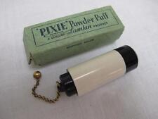 "VINTAGE 1930's BLACK & WHITE ""PIXIE"" CELLULOID POWDER PUFF BRUSH & ORIGINAL BOX"