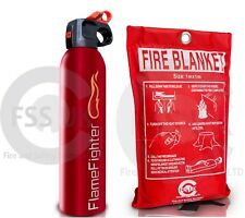 600 G POWDER FIRE EXTINGUISHER + FIRE BLANKET FOR HOMES KITCHENS CARAVAN
