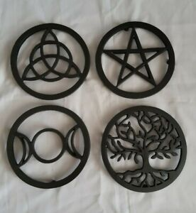 Cast Iron Trivet - Pentagram; triple moon; tree of life; triquetra