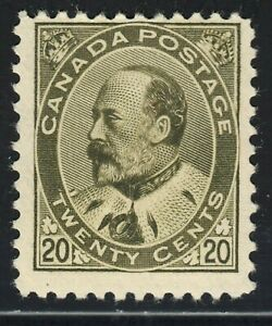 King Edward VII Scott's # 94 - 20 cent Olive Green - F/VF MLH CV $500.00 US