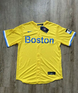 Nike Men's City Connect Authentic Boston Red Sox Jersey Gold Light Blue Sz Large