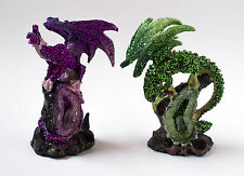 """Set of 2 diff. dragon polystone figurine on geode 4"""" high blue and red"""