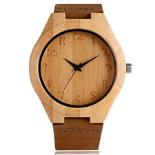 100% Nature Wood Bamboo Analog Genuine Leather Band Strap Men Women Wrist Watch