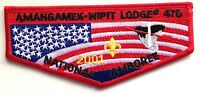 AMANGAMEK WIPIT OA LODGE 470 PATCH FLAP 2001 SCOUT JAMBOREE FLAG MINT!