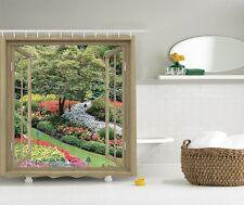 French Window Japanese Garden Graphic Shower Curtain Spring Blooms Bath Decor
