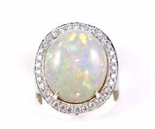 Grande Taglio Ovale Opale & Diamante Aureola Solitario Anello 14k Oro Bianco