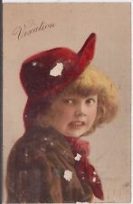 Girl with Red Beret Vexation Vintage Postcard Edwardian
