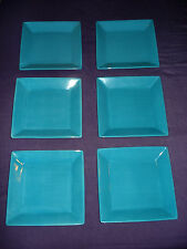 "Set of 8 HOME ACCENTS Turquoise Caribe Handcrafted 8.5"" Square Salad Plates"