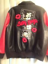 Authentic Women's Betty Boop Bomber Jacket With Sequins Raised Applicates In 2X
