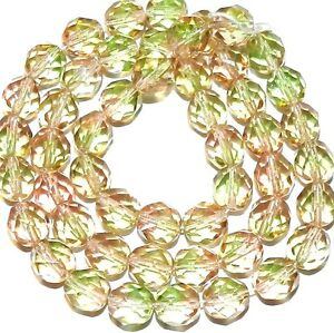 """CZ4110 Green & Pink 8mm Fire-Polished Faceted Round Czech Glass Beads 16"""""""
