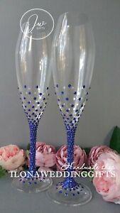 Swarovski Crystal Personalized Wedding Toast Glass Bling Sparkle Elegant Mr Mrs
